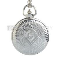 Topearl Jewelry Freemasonry Masonic Quartz Pocket Watch Silver Case Full Hunter LPW271