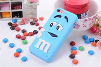2014 Hot Sale!!! Top quality wholesale 3D Cute M&M chocolate rainbow bean soft silicon case for iphone 4/4s Free Shipping