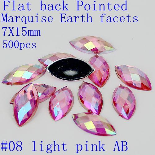 Free shipping 500pcs 7x15mm acrylic flat back marquise earth facets AB colors acrylic rhinestone beads glue on acrylic beads(China (Mainland))