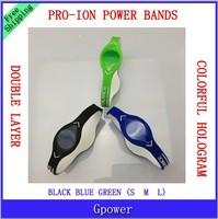 50pcs/lot Free Shipping Fashion The Pro Ion Energy Power Silicone Wristband Bracelets with Hologram Wristband Band without box