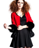 winter new women's classic short-sleeve women's wool coat Solid round neck free shipping