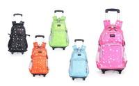 2014 Kids Mochila Infantil on Wheels Lovely Leaves Trolley School Bags Tie Rod Backpacks for Boys and Girls Large Capacity Bags