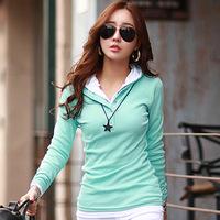 2014 New Fashion Cotton women's 100% all-match loose casual fashion long-sleeve hooded T-shirt women's top
