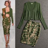 2014 Autumn runway fashion skirt suits women's long sleeves green cardigan + flower print midi skirt clothing set