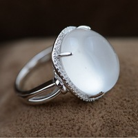 New Luxury 925 Sterling Silver Spray Jade Tension Setting Women Fashion 925 Silver Rings Free Shipping TRS21043