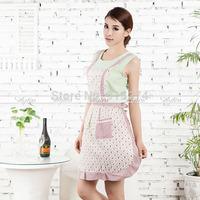 Women Princess Apron w/ Pocket Chefs Kitchen Bib Cooking Floral Lace Women Dress Free shipping