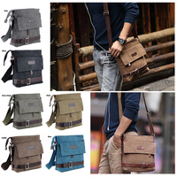 6 Colour Unisex Canvas Leather Shoulder Messenger Working Hiking Bag Satchel