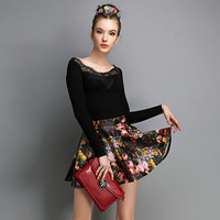 This Fall Quick and Easy Outfit PU Windproof Flowers Designs Elegent Women's Ball Gown Skirt Free Shipping 04726