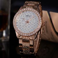 Bling Bling Diamond Crystal Luxury Top Brand Watch Rose Gold Stainless Steel Band Analog Display Rhinestone Female Clock Wrist