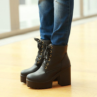 Autumn high-heeled boots british style martin boots thick heel single ankle boots