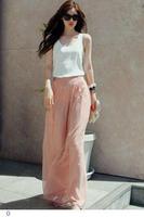 Women Pluse Size Trousers  High Waist Wide Chiffon Harem Wide leg  palazzo pants LC79502 calcas Feminino Pink Black Blue