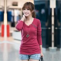 2014 zipper-up t-shirt women's o-neck long-sleeve t-shirt fashion basic slim shirt female top