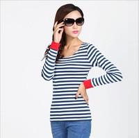 2014 cuff mosaic t-shirt all-match stripe long-sleeve basic shirt female top