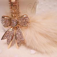 Large fox fur ball bow  car keychain women's handbag chain bag buckle hangings