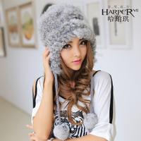 Thermal thickening fur rabbit fur hat female sweet sphere ear protector cap winter