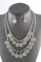 Fashion Bohemian Silver Double Chain Coin Tassel Bib Necklace Earring Jewelry Set HYC-A51