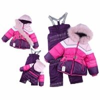 2 - 9 yrs 100% Russia Brand -30 degrees Thickening children's ski suit big furl collar baby girl winter clothes sets snowsuit