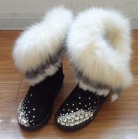 Anti season snow boots handmade rhinestone knee-high snow boots