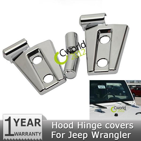 1Pair Chrome ABS Car Auto Engine Hood Hinge Covers Trim Bezel Protector For Jeep Wrangler JK 2007~2014(China (Mainland))