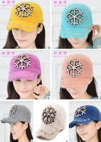 Women fashion winter warm rhinestone snow flower rabbit hair baseball cap
