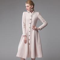 Vintage long design women's wool blends outerwear overcoat 2014 autumn winter hot fashion brand high quality slim woolen dress