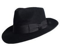 2014 New Quality Australian Wool 1:1 Michael Jackson Concert Dance Fedoras Classic Solid Black Wide Brim Jazz Gentleman Hat
