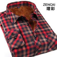 Winter thermal 2014 plaid shirt male plus velvet thickening long-sleeve shirt casual fashion slim