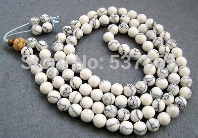 Detalhes sobre a oração budista tibetana 108 Howlite Turquoise Beads Colar Mala(China (Mainland))