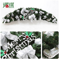 Hot Sale 150cm Silver letter and christmas ball rattan door decoration