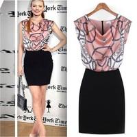 2014 Women European V-neck print Empire Dress high-end international Brand Office Lady Teachers Dresses