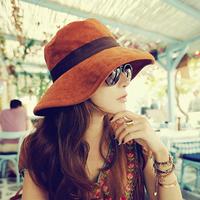 2014 New Anti-uv large sun-shading hat women's autumn beach bucket hat outdoor sunscreen sun hat