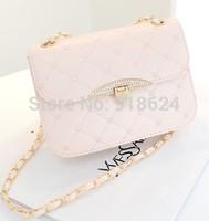 Classic Fashion Cute Women's Plaid Candy Color PU Shoulder Bag Wild Casual Heart Messenger Bag  Chain Bag Free Shipping