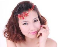 Fashion Crystal flower red pearl headband Rhinestone headwear wedding bridal tiara hair ornament HE02  in free shipping