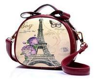 Women Handbags Graffiti Barrel-shaped Mini Shoulder Bags Printed Eiffel Tower Caual Bags for Women Bolsas Vintage Messenger Bags