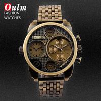 Oulm Luxury Brand Men Full Steel Watch 4 Small Dials Male Antique Clock Quartz Mens Military Watch Relogio Masculino