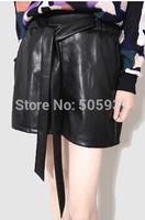 Fashion Women PU Leather Shorts Big Brand Style Bow