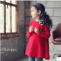 2014 Spring Autumn New Baby Girls Dress Bright Red Christmas New Year Dress 5pcs/lot Wholesale