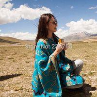Free Shipping new arrival Thick Cotton Large Women Bohemia Style Pashmina Shawl Scarves Sunflower Pattern Wraps