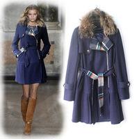 2014 New Brand Women Wool Trench Coat Fashion Plaid Fur Overcoat Women Manteau Femininos Black/Red/Beige Free Shipping W1472