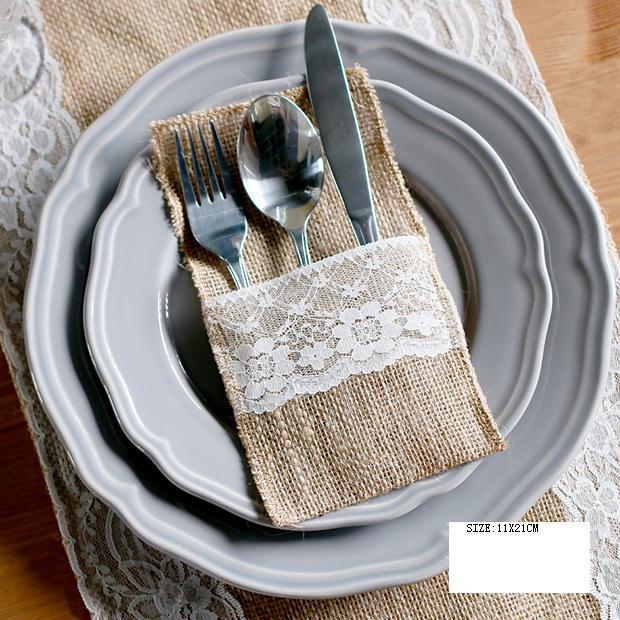 Articulos De Decoracion Por Mayor ~ Venta al por mayor de yute de novia de encaje embalaje vajilla tenedor