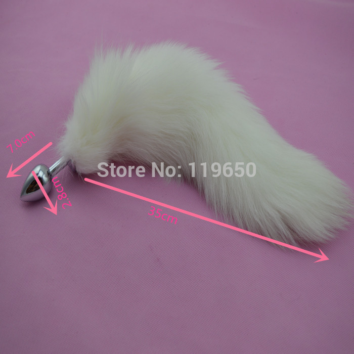 NEW!7*2.8cm Metal Butt Plug,Fox Tail Anal Plug,Sex Toys For Women,Fun Sex Games For Couples,Adult Products - White(China (Mainland))