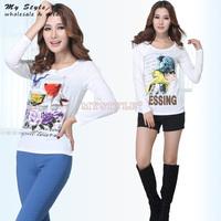 Casual Autumn Winter Tees 2014 Fashion Korean Sweet T Shirt Long Sleeve White Print  Basic Shirts For Women O-Neck Tops 2084