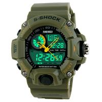 Wristwatch 2014 Men Sports Watches 2 Time Zone Digital Quartz Watch Dive 50M Waterproof LED Electronic Multifunctional Military