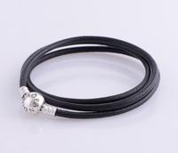 bracelet silver 925 sterling bracelests for women round black genuine leather bracelet men PL301-62