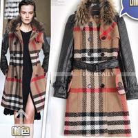 2014 New Desigual Women Abrigos Mujer Wool Fur Coat Fashion Plaid Windbreaker Manteau Women Overcoat Free Shipping W1378