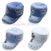 FreeshippingWomen Denim Rivet Hats Snapback Rhinestone Printed visor Cap Trucker Hats