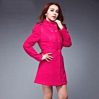 New 2014 Fashion plus size Women's Coat Wool Double-Breasted Outerwear For Women Slim Long Wool jacket Winter Coats Women