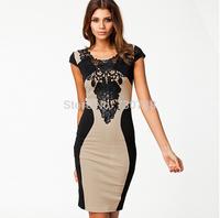 Retail S M L XL Bandage Dress 2014 New Arrival Women Elegant Embroidery Bodycon Dresses New Fashion Patchwork Autumn Casua
