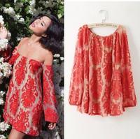 014 hot embroidery lace strapless bra 2 color collar Print Dress mini bodycon dress frozen dress elsa dress