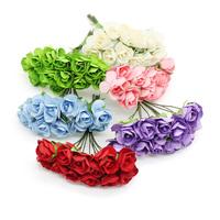 Hot Sale 144 PCS/LOT Multicolors Mini Rose Paper Flower Scrapbooking Artificial DIY Flowers For Wedding Bouquet Christmas Decor